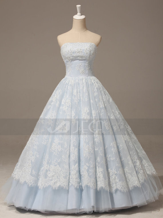 A-line Baby Blue Lace Wedding Gown Rustic Chic Wedding Dress ...