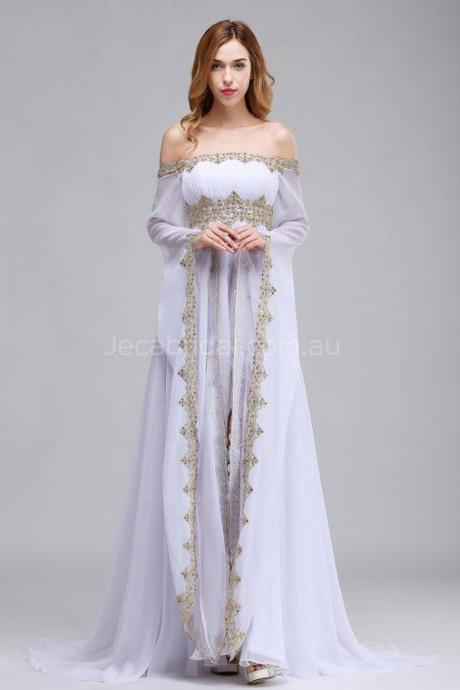 Off The Shoulder Medieval Wedding Dress Woodland Wedding Dress W1064