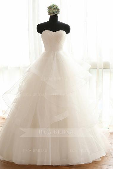 Ethereal Layered Tulle Romantic Wedding Dress Debutante Gown W1033