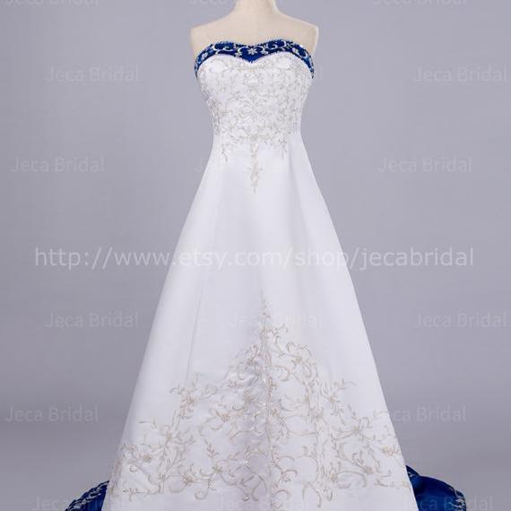 White and Royal Blue Wedding Dress Alternative Wedding Dress Embroidered Wedding Dress W80