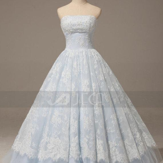 c95cab1c1 A Line Baby Blue Lace Wedding Gown Rustic Chic Dress Romantic Quinceanera  On Luulla